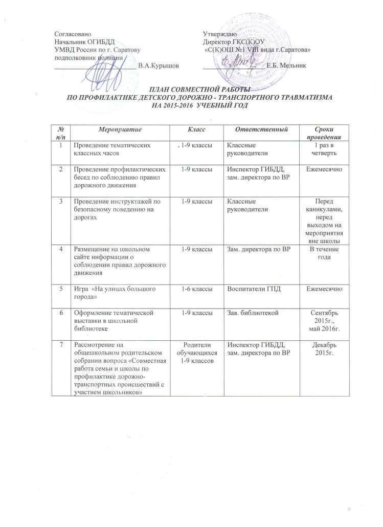 план совместной работы с ГИБДД